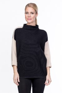 black and beige colour blocked sweater