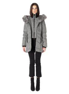 grey black mix winter coat